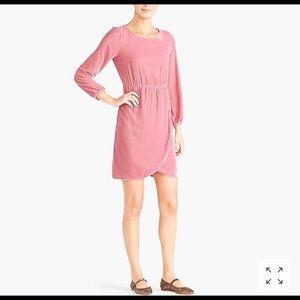 NWOT J. Crew Tulip Hem Velvet Blush Pink Dress